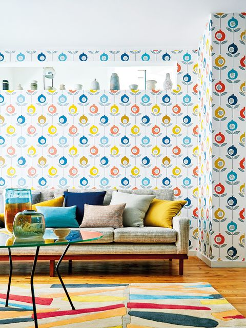 Blue, Yellow, Room, Interior design, Green, Furniture, Couch, Wall, Living room, Turquoise,