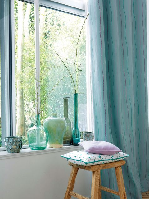 Curtain, Blue, Green, Interior design, Window treatment, Turquoise, Room, Aqua, Furniture, Table,