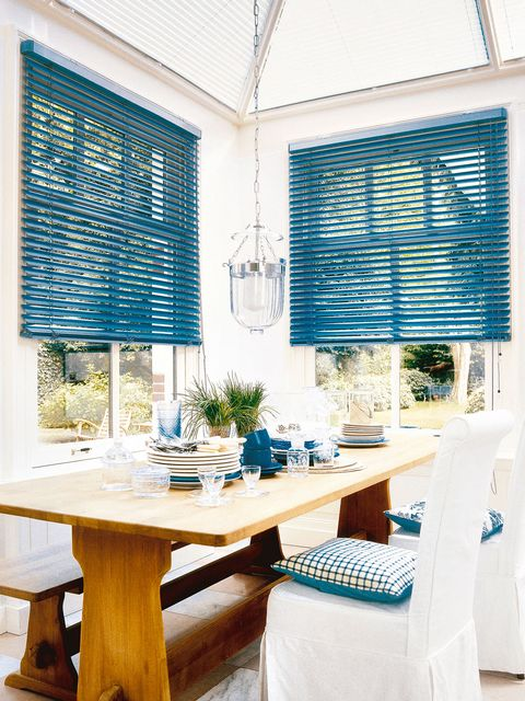 Blue, Interior design, Room, Furniture, Turquoise, Window covering, Window treatment, Home, Property, Building,