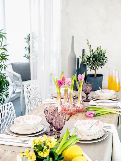 Yellow, Room, Pink, Table, Dining room, Interior design, Meal, Furniture, Flower, Brunch,
