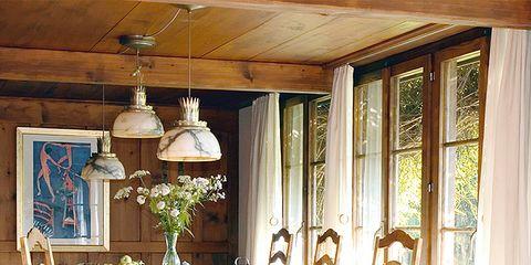 Room, Interior design, Wood, Table, Furniture, Ceiling, Floor, Interior design, Chair, Hardwood,