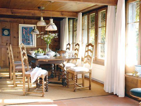Room, Interior design, Wood, Table, Floor, Ceiling, Furniture, Hardwood, Interior design, Fixture,