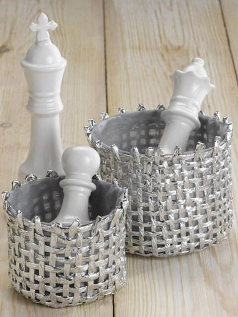 Basket, Storage basket, Wicker, Home accessories, Grey, Still life photography, Picnic basket, Plastic, Finial, Bicycle accessory,