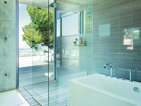 Glass, Architecture, Floor, Property, Plumbing fixture, Interior design, Wall, Tile, Flooring, Real estate,