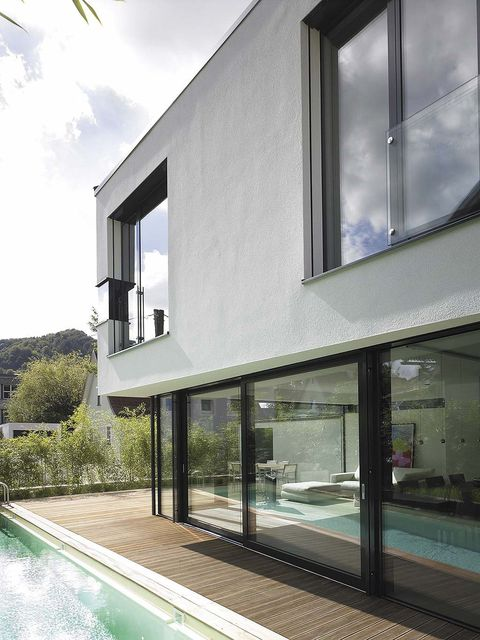 Property, Glass, Real estate, Fixture, House, Swimming pool, Transparent material, Daylighting, Composite material, Shade,