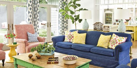 Living room, Room, Green, Furniture, Interior design, Blue, Yellow, Home, Coffee table, Property,