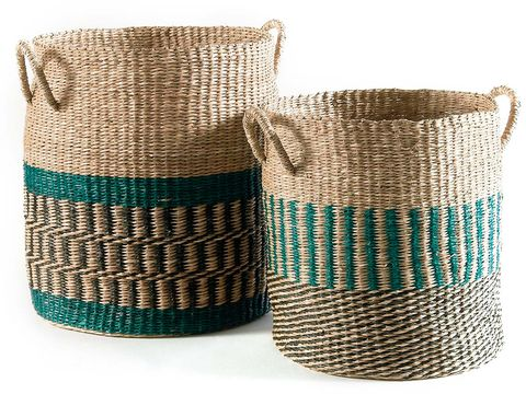 Basket, Storage basket, Turquoise, Laundry basket, Coffee cup sleeve, Twine, Hamper, Home accessories, Wicker,