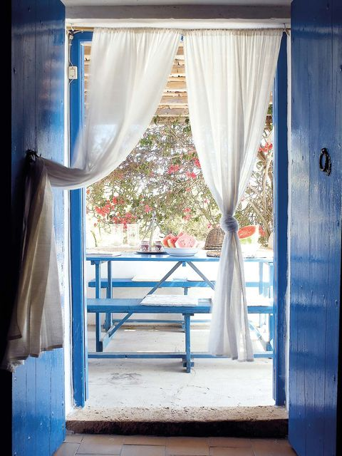 Curtain, Blue, Window treatment, Interior design, Textile, Window covering, Room, Window, Furniture, House,