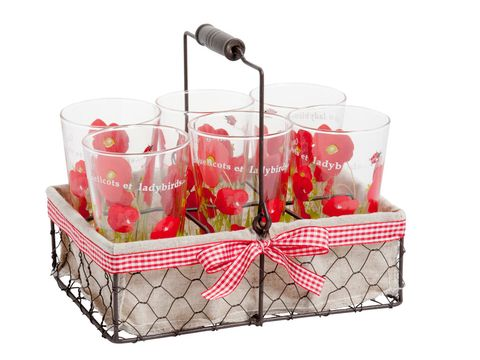 Red, Produce, Basket, Fruit, Present, Party supply, Home accessories, Storage basket, Cherry, Peach,