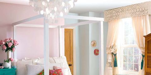 Room, Interior design, Floor, Property, Textile, Flooring, Bed, Red, Furniture, Pink,