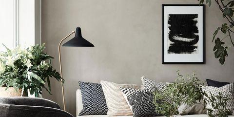 Interior design, Room, Wall, Home, Furniture, Floor, Interior design, Living room, Flowerpot, Picture frame,