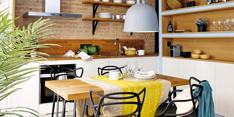 Furniture, Room, Interior design, Table, Kitchen, Property, Dining room, Yellow, Floor, Building,