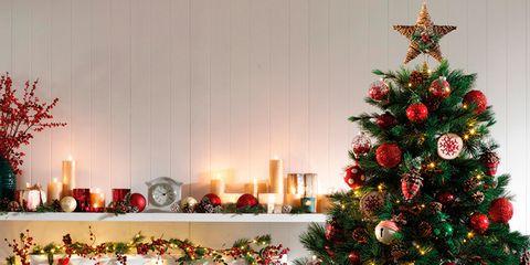 Christmas tree, Christmas decoration, Christmas, Christmas ornament, Tree, Christmas eve, Tradition, Room, Fireplace, Christmas stocking,
