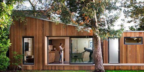 casa ecológica de madera en el bosque