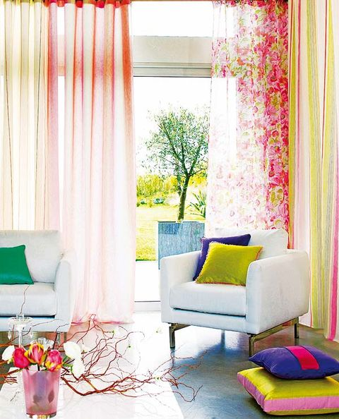 Blue, Interior design, Room, Green, Yellow, Furniture, Textile, Pink, Interior design, Wall,