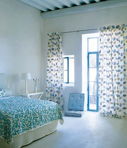 Blue, Room, Interior design, Floor, Textile, Wall, Ceiling, Linens, Flooring, Teal,