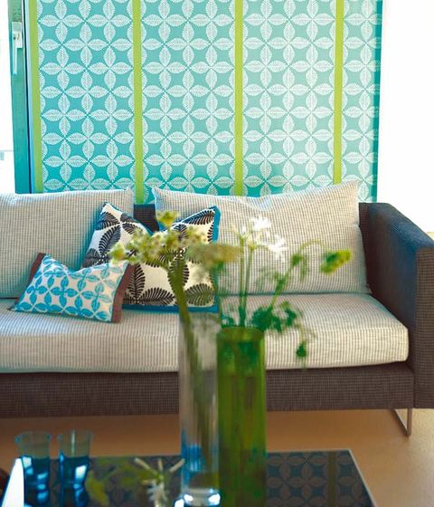 Blue, Green, Interior design, Room, Furniture, Couch, Teal, Living room, Turquoise, Glass,