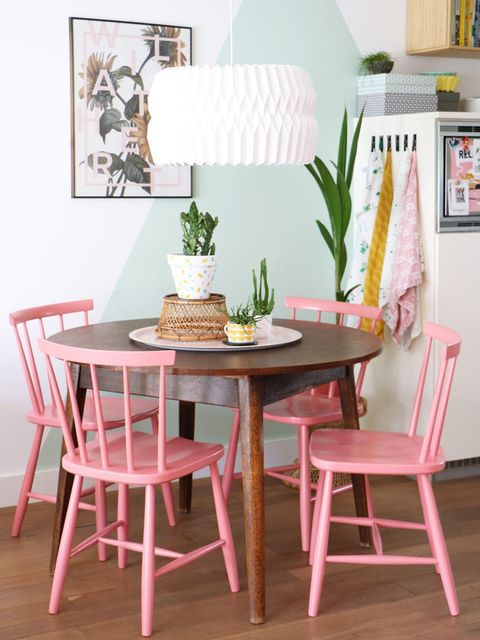 Furniture, Dining room, Room, Table, Pink, Chair, Interior design, Kitchen & dining room table, Windsor chair, Desk,