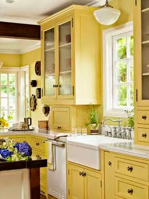 Countertop, Cabinetry, Furniture, Room, Kitchen, Property, Interior design, Yellow, Home, Floor,