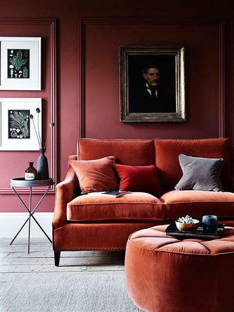 Living room, Couch, Furniture, Room, Red, Interior design, Orange, Property, Wall, Home,