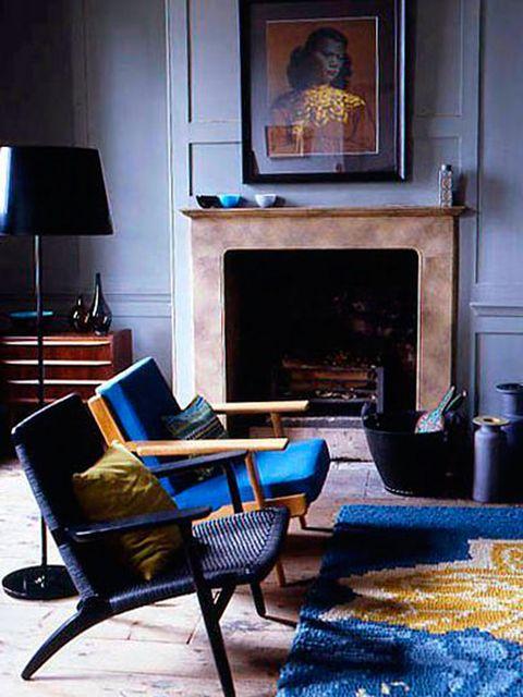 Living room, Room, Furniture, Interior design, Blue, Property, Table, Home, House, Floor,