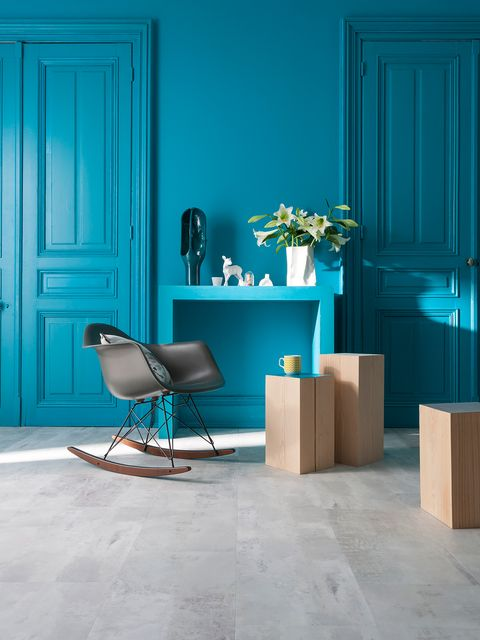 Blue, Wood, Door, Floor, Teal, Room, Turquoise, Flooring, Home door, Interior design,