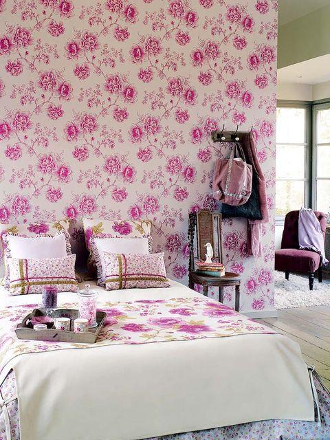Room, Interior design, Bedding, Bed, Purple, Textile, Furniture, Magenta, Violet, Bedroom,