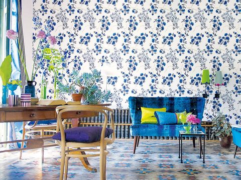 Blue, Interior design, Room, Yellow, Green, Furniture, Textile, Wall, Majorelle blue, Turquoise,