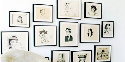 Wall, Room, Interior design, Black-and-white, Wall sticker, Illustration, Art,