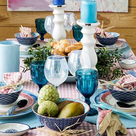 Serveware, Dishware, Drinkware, Plastic bottle, Table, Turquoise, Teal, Tableware, Ingredient, Porcelain,