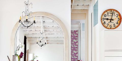 Interior design, Room, White, Wall, Floor, Interior design, Wall clock, Home, Cabinetry, Door,