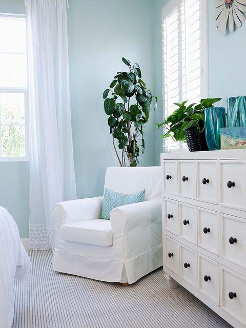 Green, Room, Interior design, Window, Wall, Furniture, Window covering, Interior design, Teal, Floor,