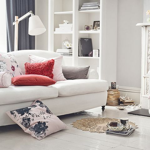 Room, Blue, Interior design, Home, Living room, Wall, White, Furniture, Couch, Interior design,