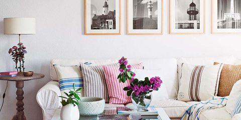 Room, Interior design, Furniture, Table, Home, Interior design, Pink, Living room, Linens, Tablecloth,