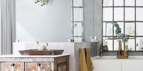 Room, Furniture, Floor, Tile, Interior design, Chest of drawers, Bathroom, Marble, Flooring, Drawer,
