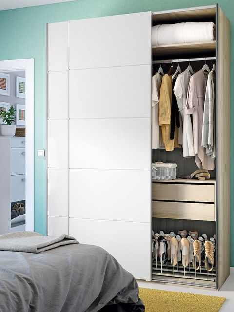 Room, Wall, Clothes hanger, Grey, Linens, Closet, Collection, Retail, Bed, Shelving,