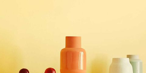 Orange, Vase, Yellow, Still life photography, Still life, Shelf, Room, Material property, Furniture, Peach,