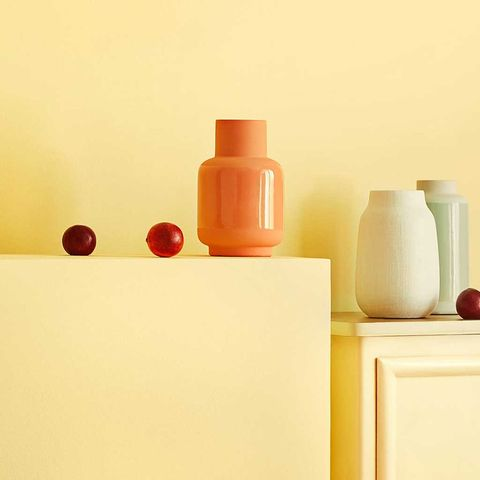 Orange, Vase, Yellow, Still life photography, Still life, Shelf, Room, Material property, Furniture, Peach,