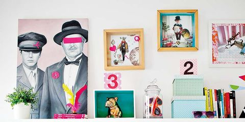 Pink, Shelf, Wall, Room, Furniture, Shelving, Interior design, Graphic design, Photography, Style,