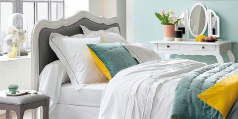 Furniture, Green, Room, Aqua, Blue, Bedroom, Bed sheet, Turquoise, Bedding, Bed,