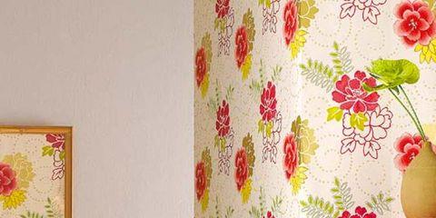 Yellow, Room, Interior design, Textile, Wall, Petal, Interior design, Orange, Pattern, Peach,