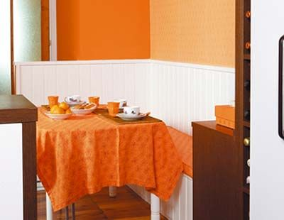 Tablecloth, Product, Room, Wood, Property, Orange, Interior design, Table, Dishware, Dining room,