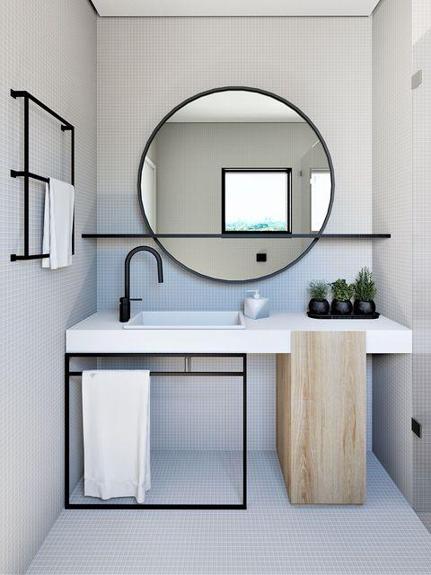 Room, Bathroom, Interior design, Wall, Furniture, Bathroom accessory, Architecture, Material property, Tile, Bathroom cabinet,
