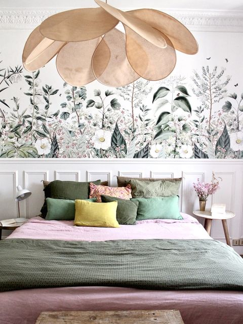 Room, Bedroom, Interior design, Furniture, Green, Wall, Bed, Purple, Leaf, Feather,