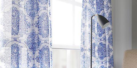 Blue, Interior design, Room, Textile, Interior design, Window treatment, Fixture, Azure, Curtain, Wallpaper,