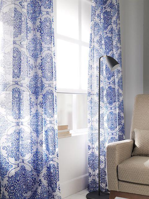 Blue, Interior design, Room, Textile, Floor, Window treatment, Interior design, Flooring, Fixture, Azure,