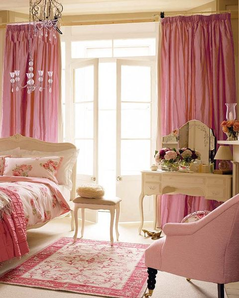 Interior design, Room, Floor, Flooring, Textile, Furniture, Home, Window covering, Pink, Window treatment,