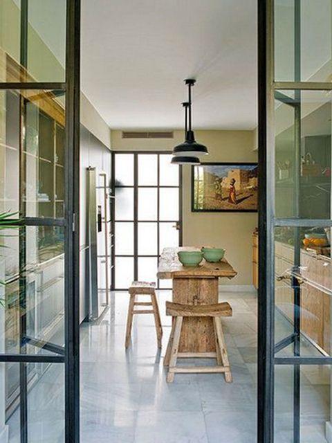 Glass, Interior design, Floor, Table, Fixture, Transparent material, Light fixture, Iron, Interior design, Stool,