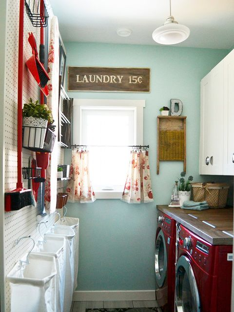 Room, Interior design, Property, Floor, Washing machine, Red, Clothes dryer, Flooring, Ceiling, Major appliance,