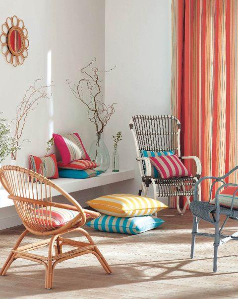 telas de hogar de colores cortinas y cojines